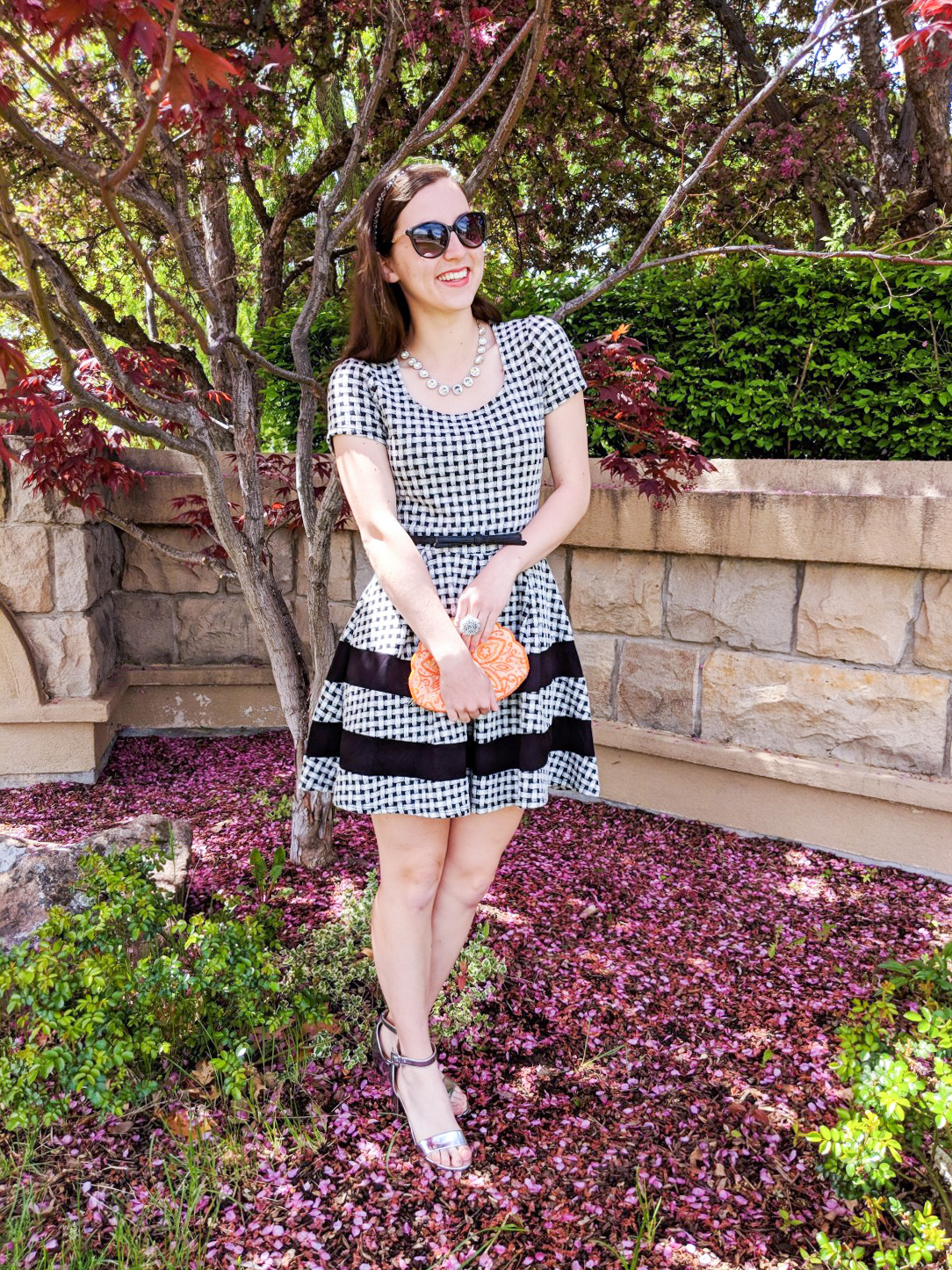 spring dress, Easter dress, striped dress, orange clutch, silver heels