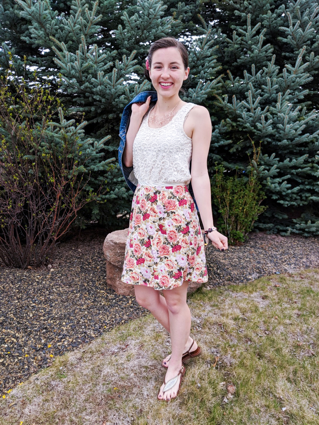 crochet top, spring outfit, JCPenney, rose floral skirt, how to wear pink
