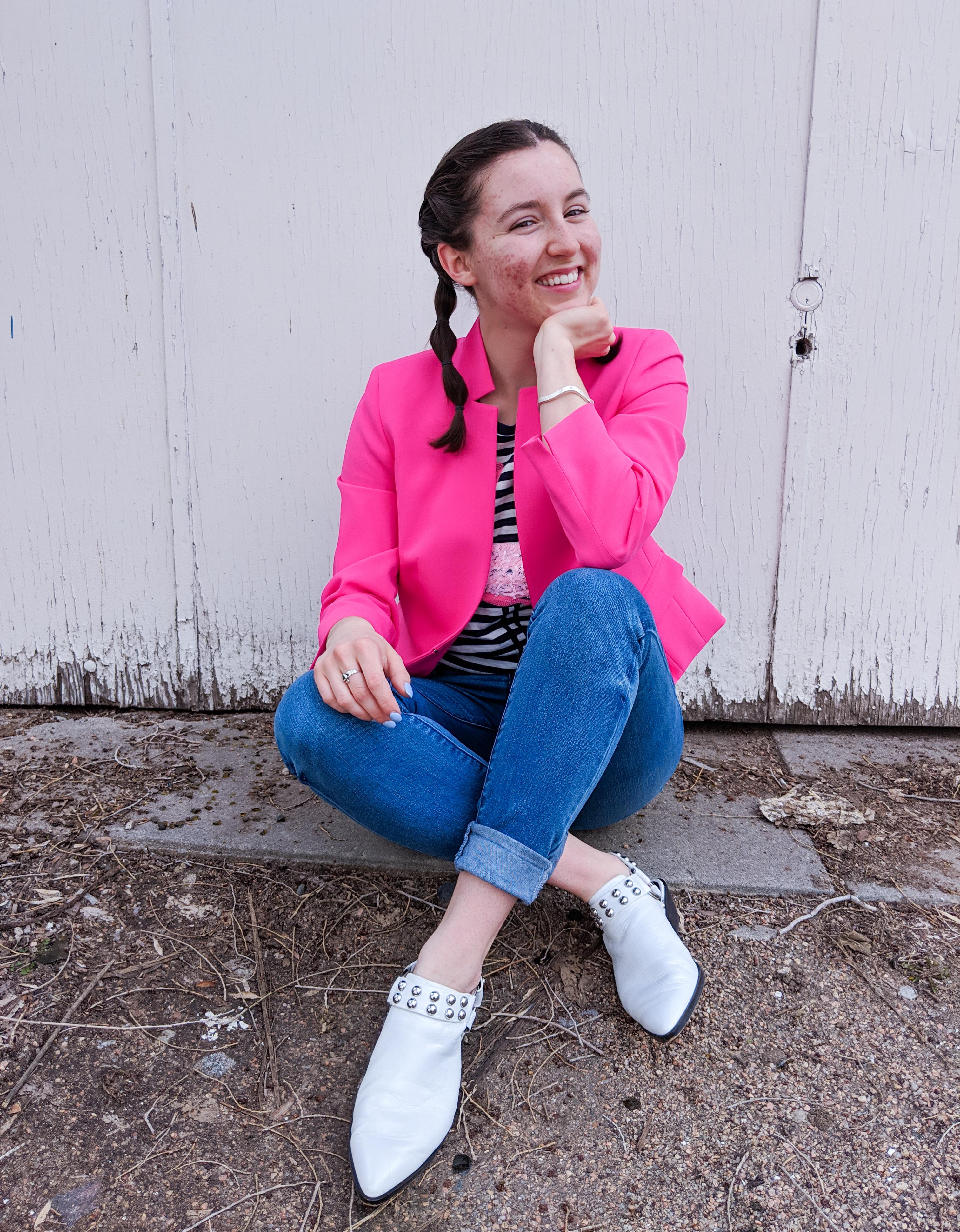 hot pink blazer, white studded Rebecca Minkoff mules