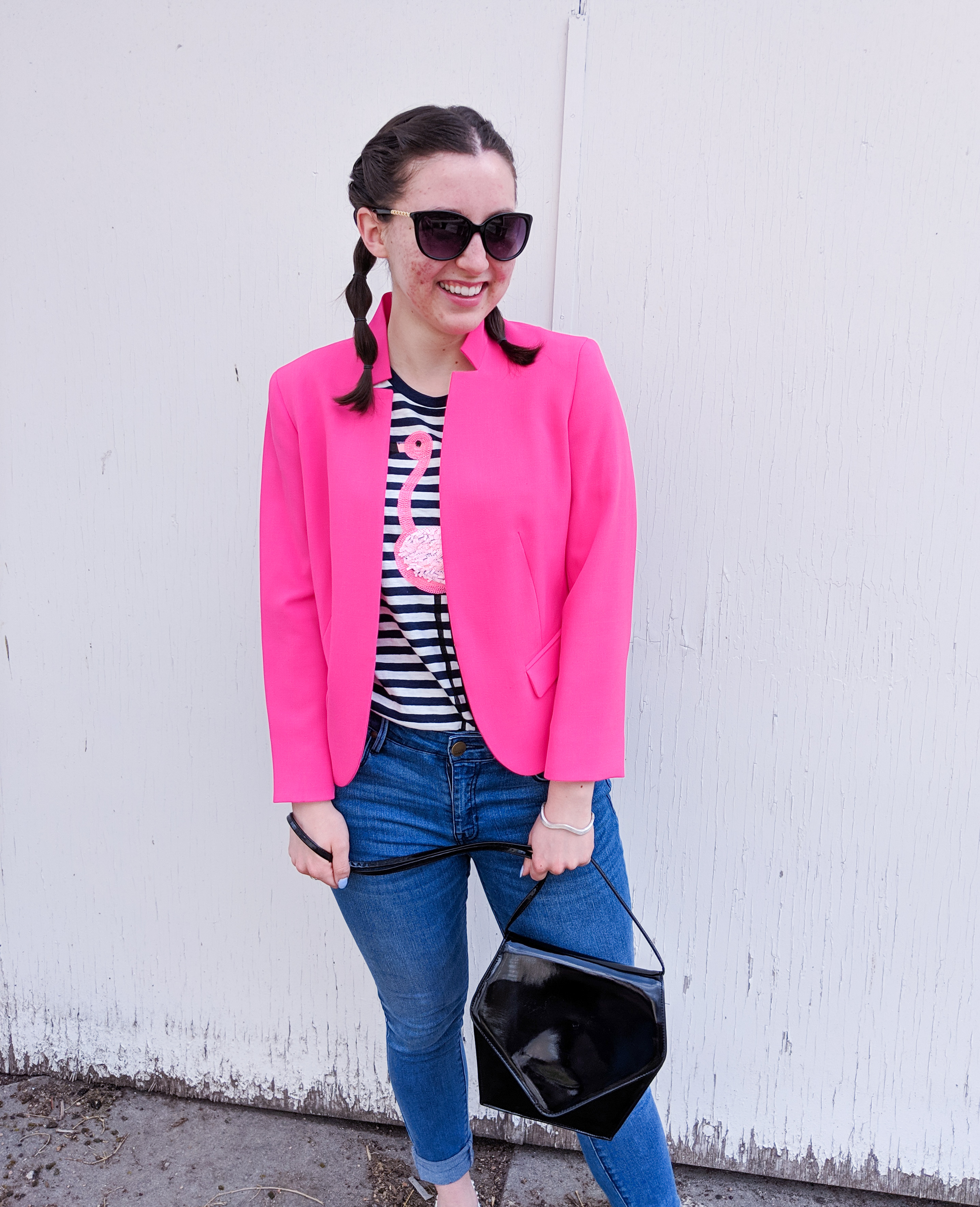 black patent purse, pink blazer, spring outfit, pop of pink