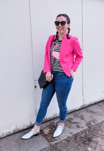 hot pink blazer from JCPenney, flamingo t-shirt from JCrew