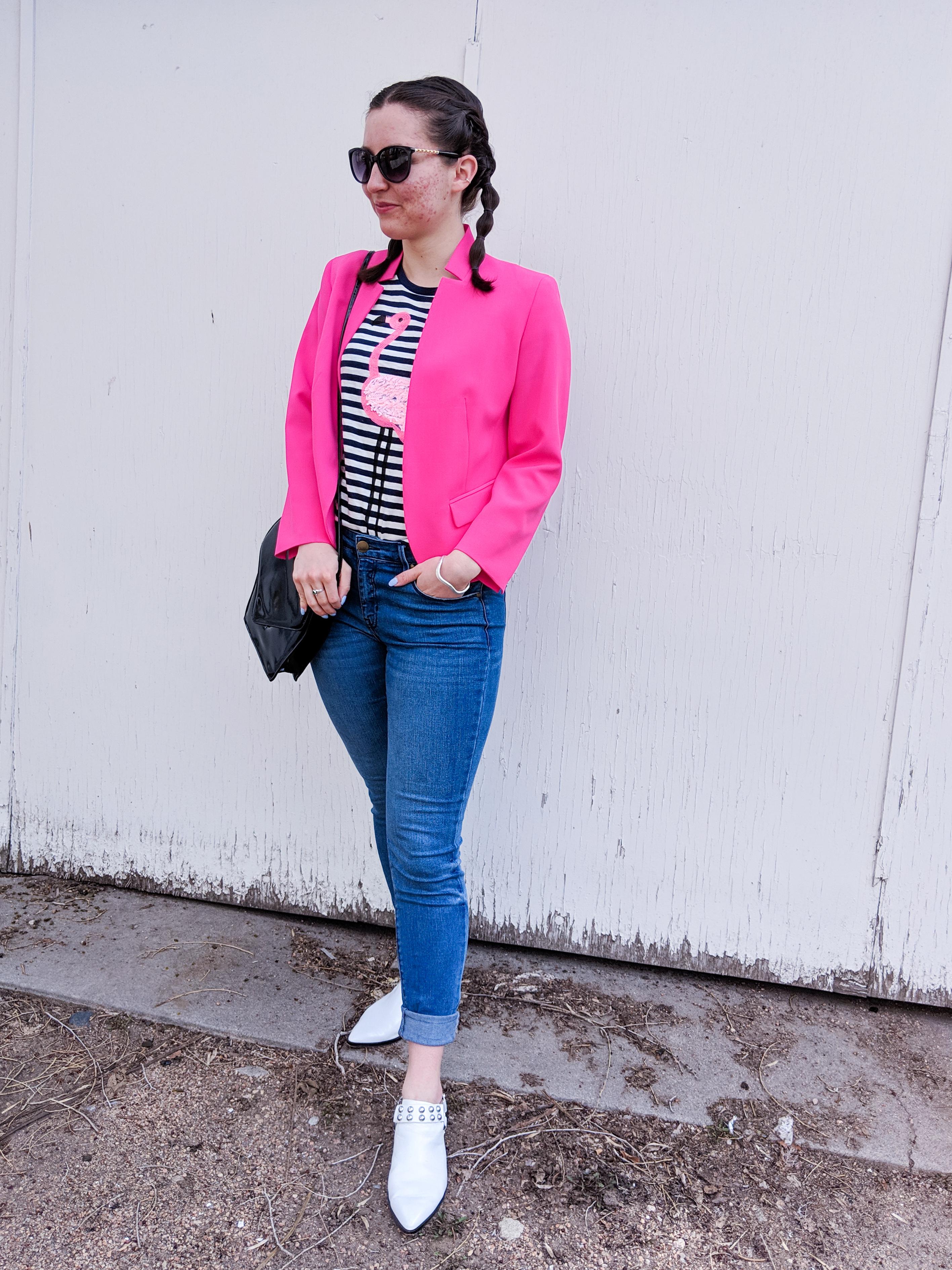 hot pink blazer, white mules, spring outfit, Harper's denim