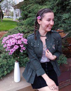pink flowers, olive military jacket, choker, sparkly headband