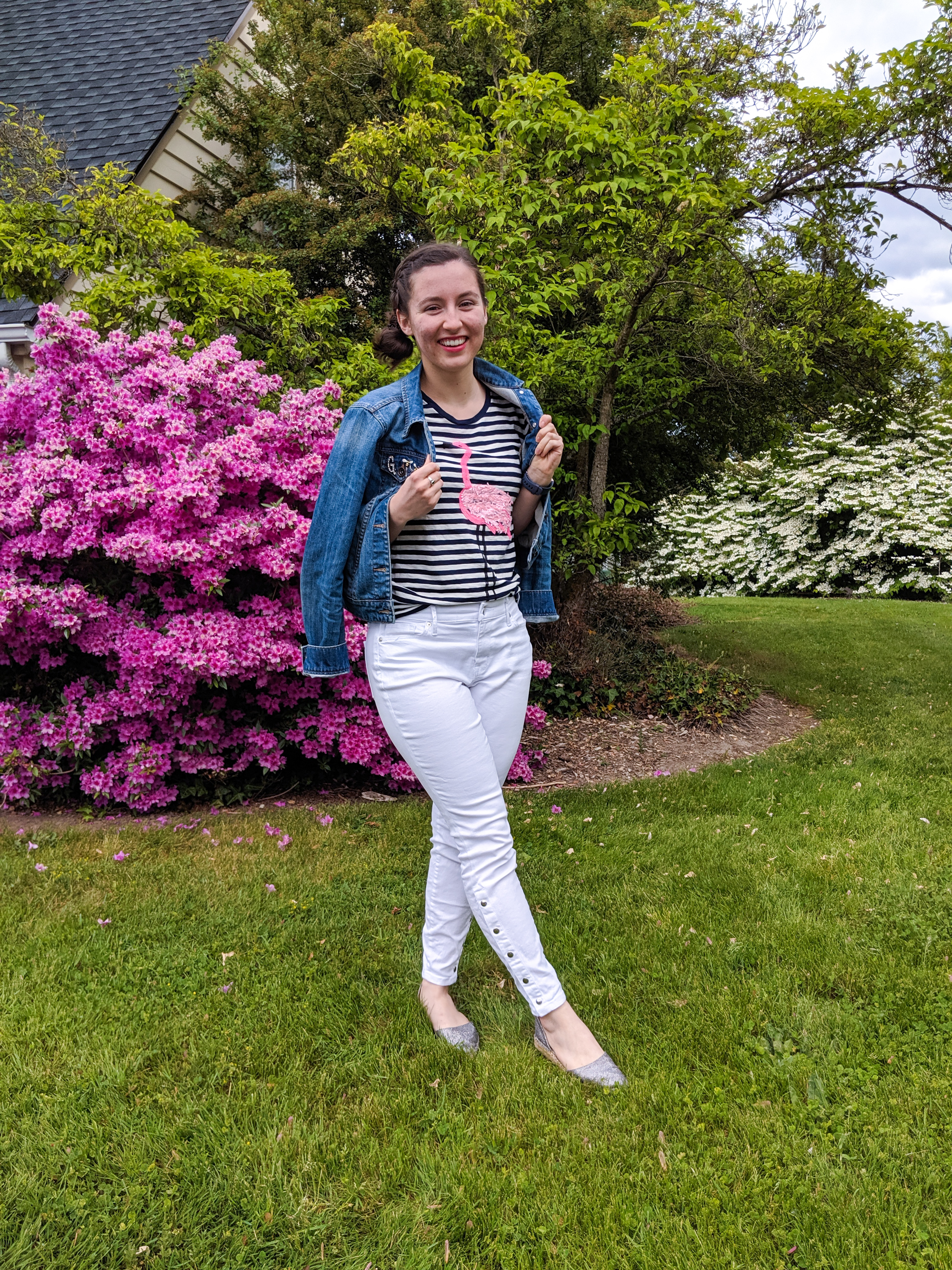 pink flowers, spring outfit, travel outfit