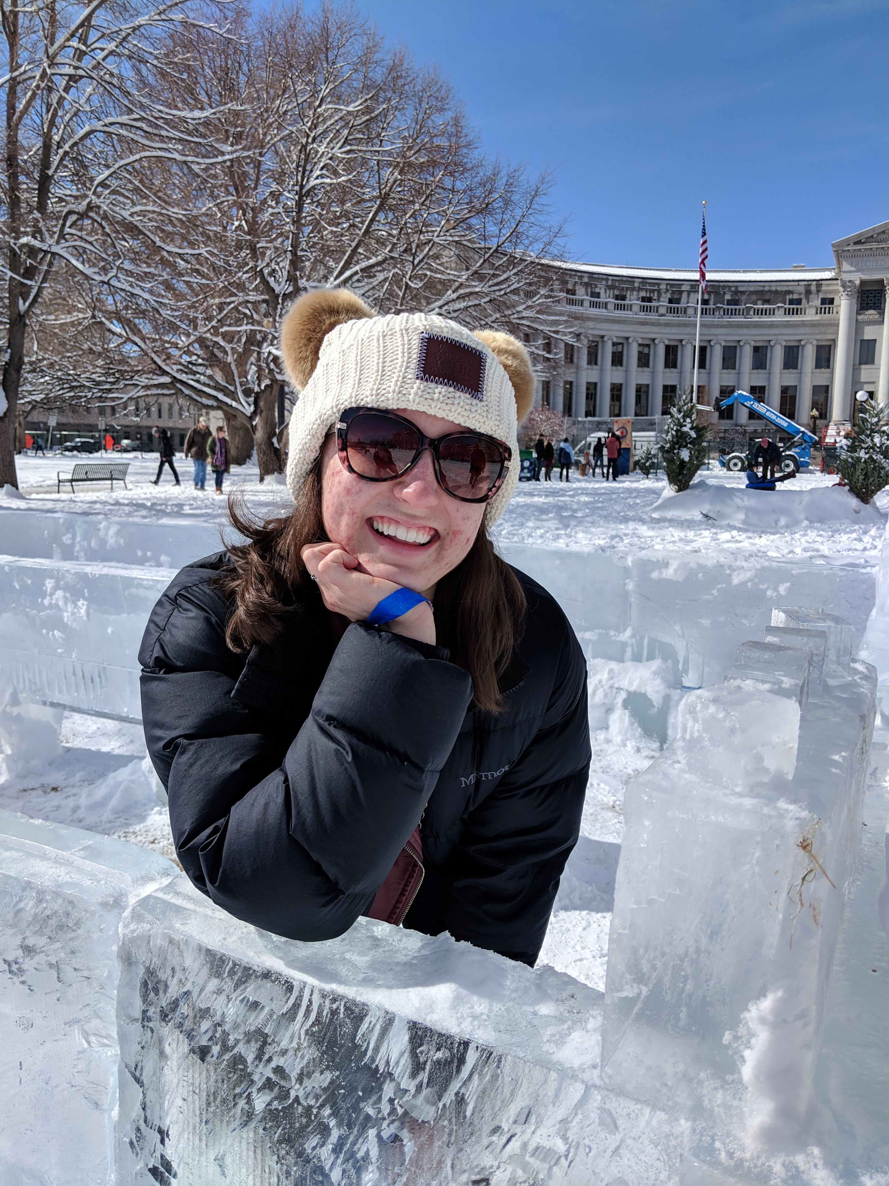 Love Your Melon beanie, snow outfit, winter, ice castle