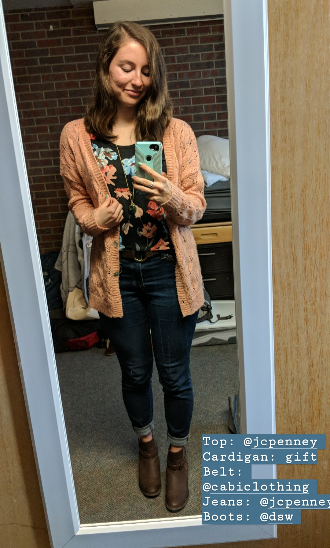 floral blouse, coral sweater, skinny jeans, brown booties