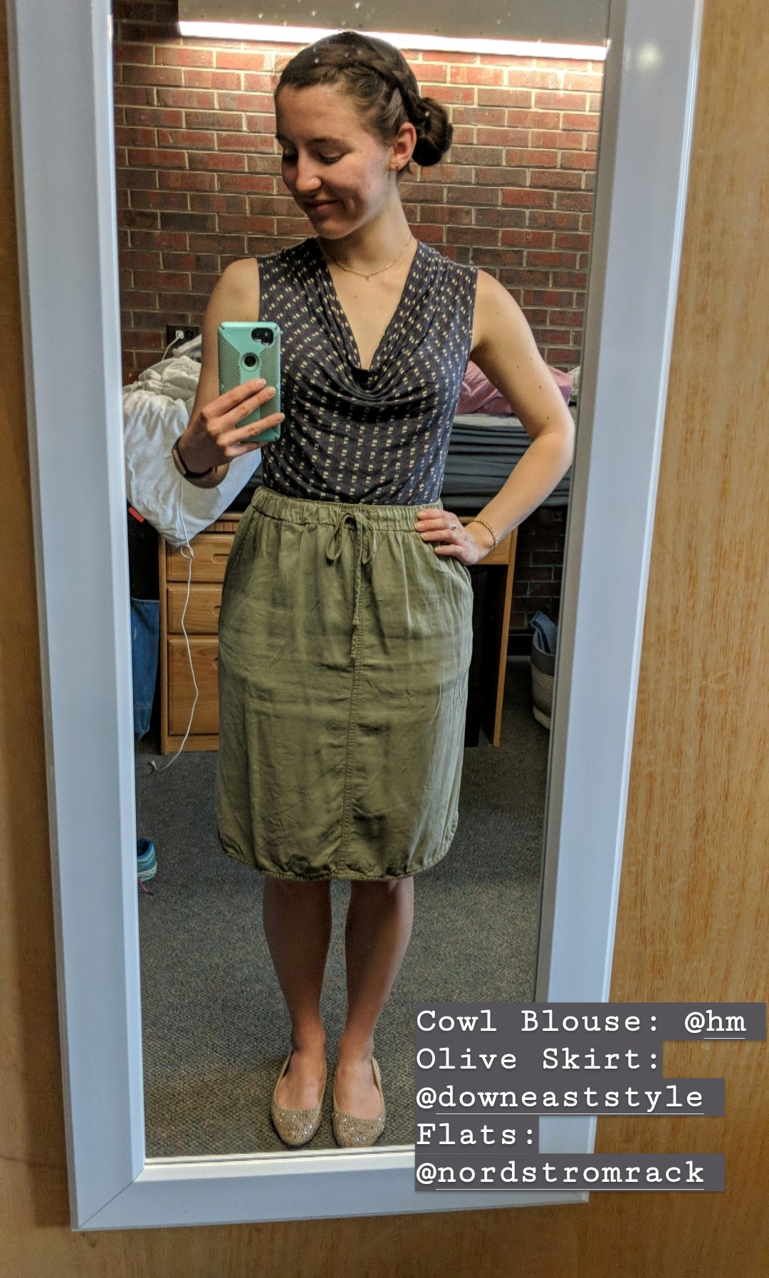 patterned cowl blouse, olive green skirt, beige sparkly flats