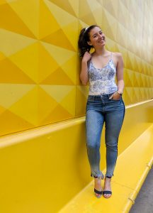 jungle printed bodysuit, skinny jeans, Bohme Boutique, striped heels