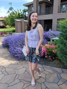 Freshman 15, Francesca's top, peplum top, floral skirt