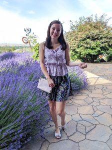 Purple peplum top, pattern mixing, floral skirt