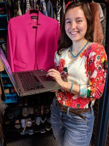 excel spreadsheet, pink blazer, colorful cardigan