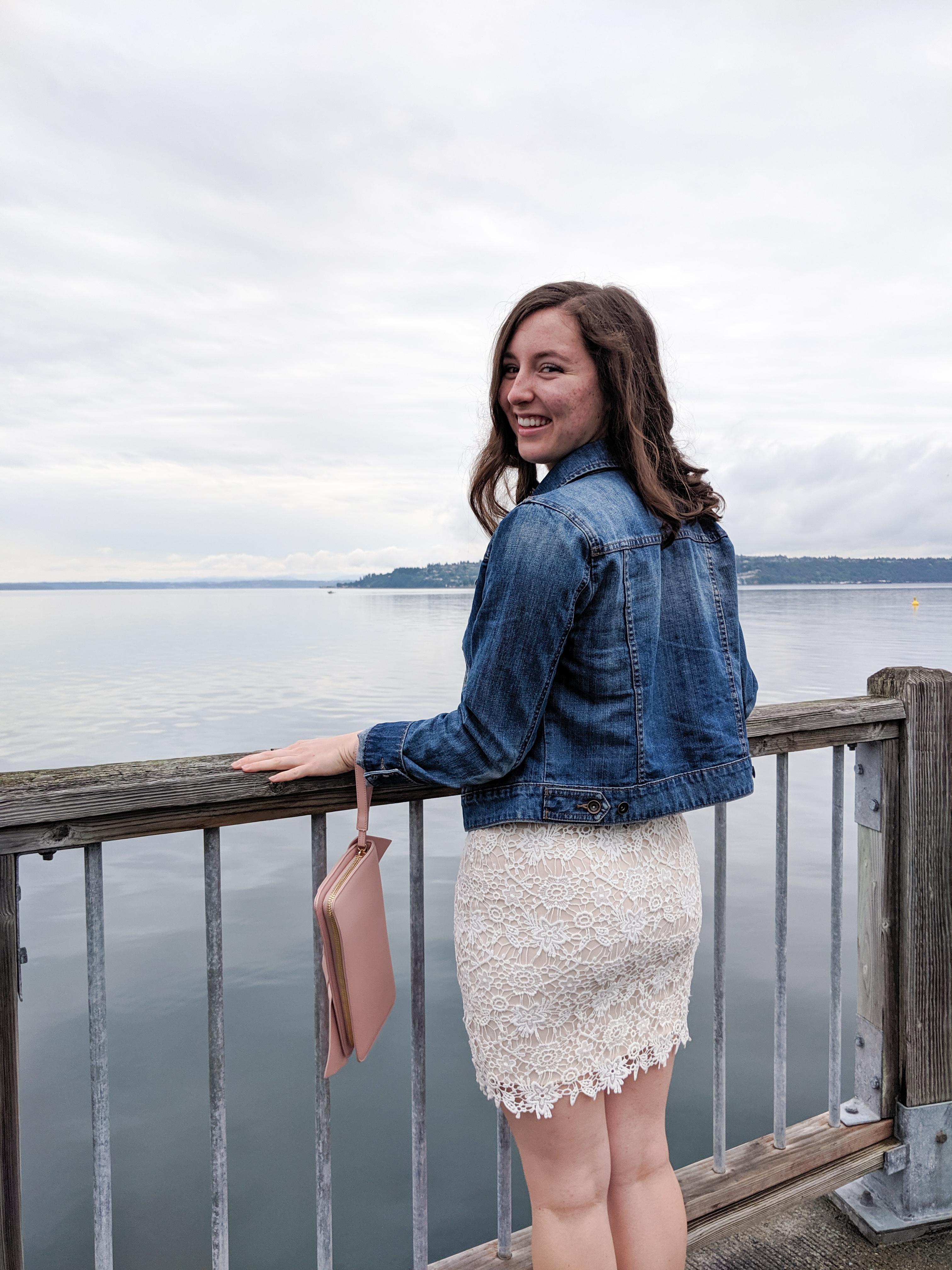 denim jacket, white lace dress, Puget Sound, Tacoma