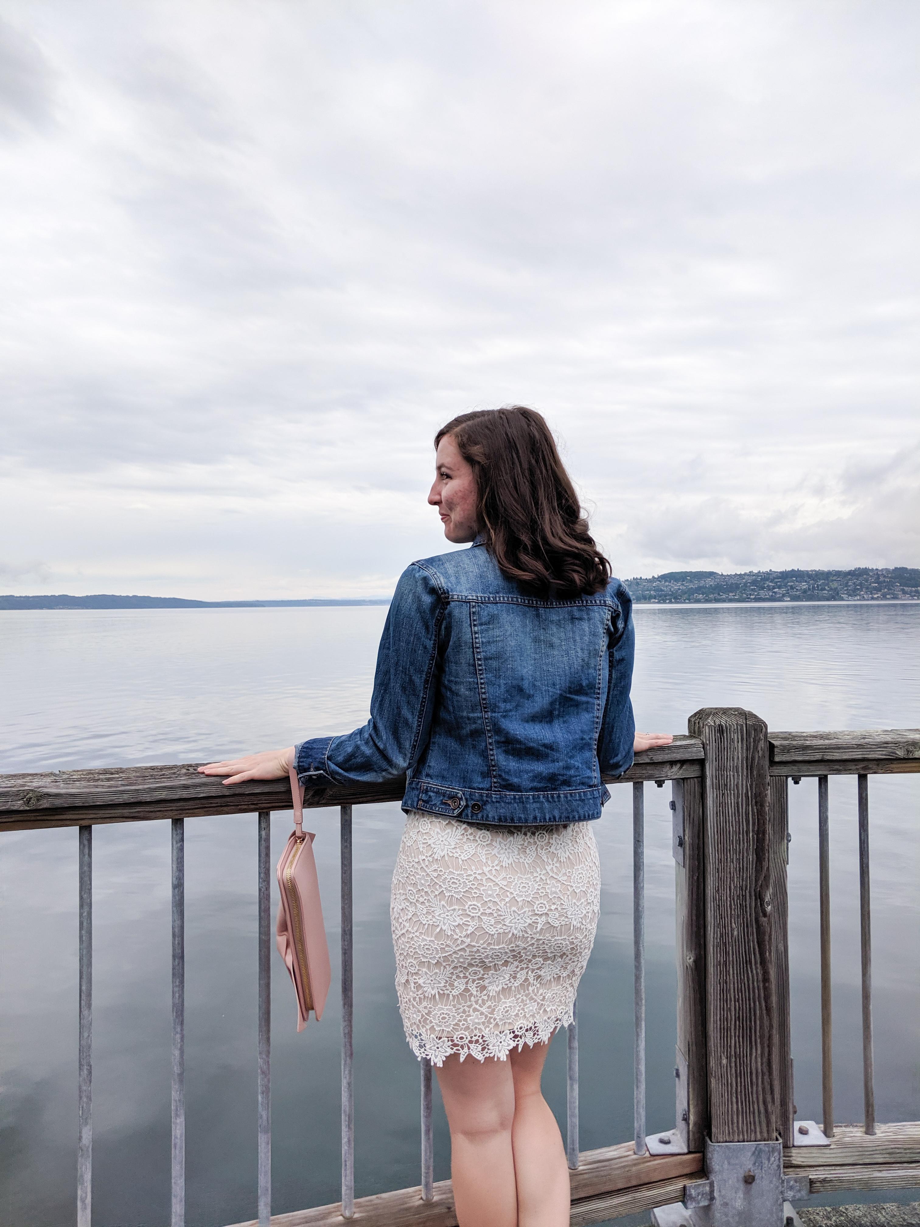 white lace dress, jean jacket, Puget Sound