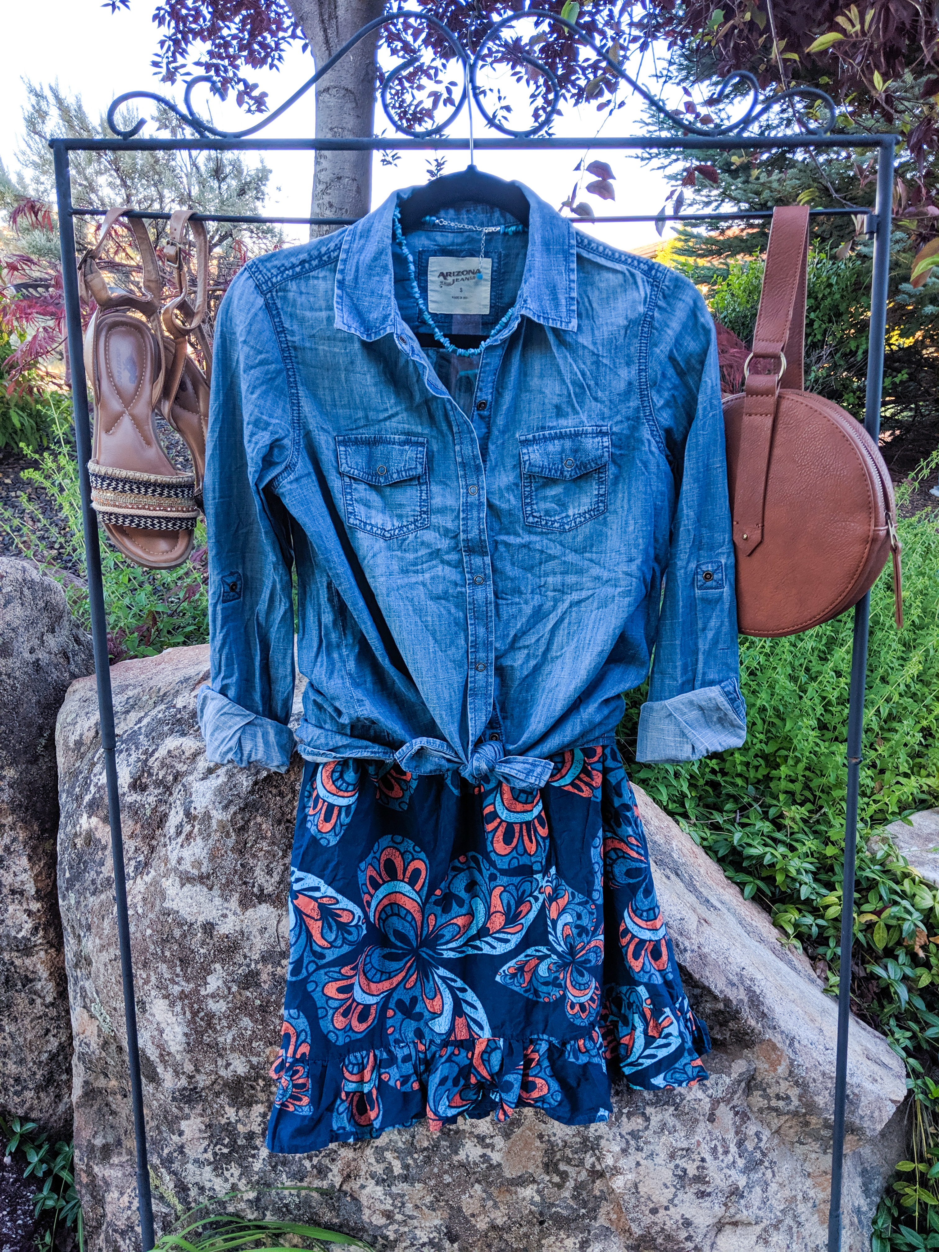 blue chambray top, blue patterned skirt