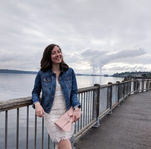 Tacoma, Puget Sound, white lace dress, blush bow purse