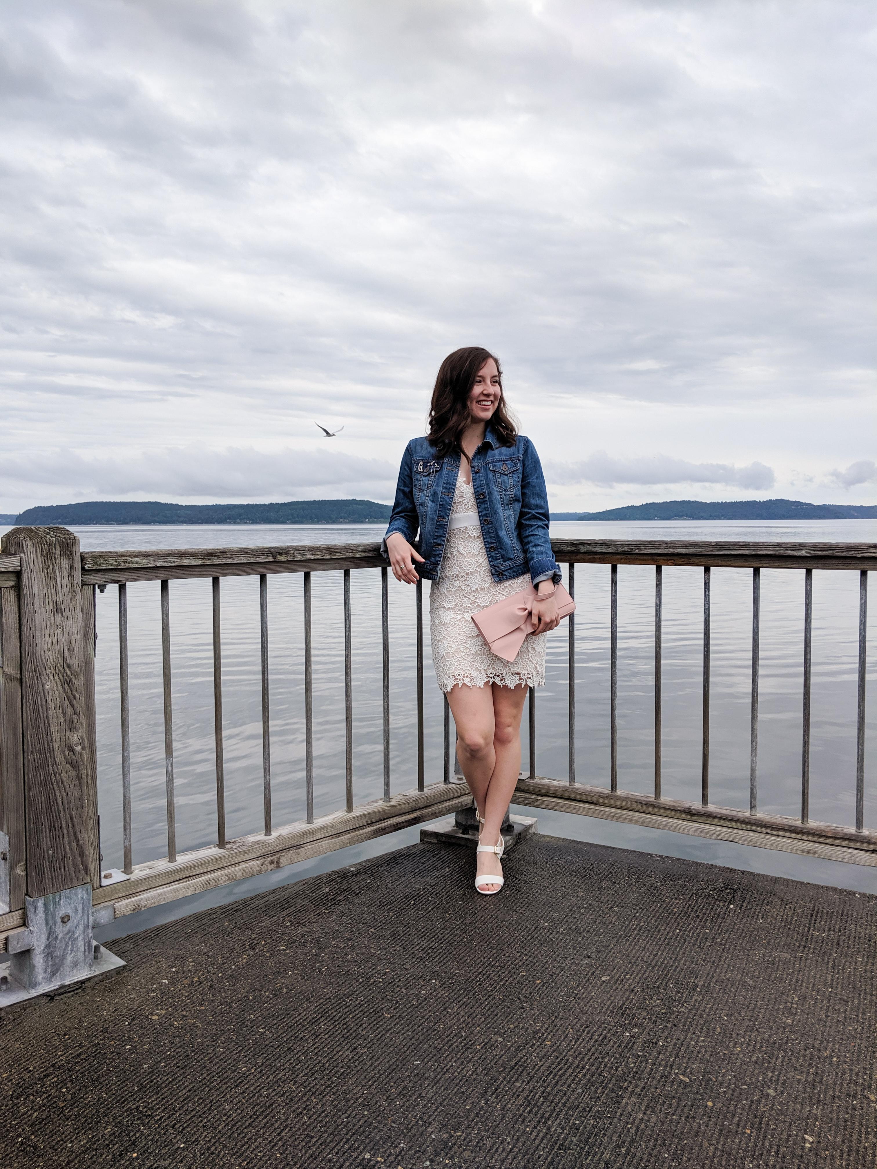 Puget Sound, graduation outfit, fancy dress, blush clutch
