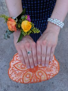 Beaded clutch, orange purse, complementary colors, flower corsage