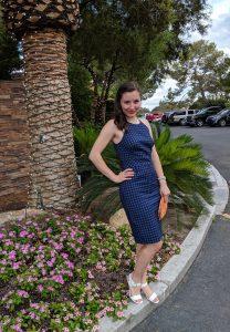 Wedding guest outfit, wedding season, blue gingham, navy dress