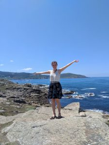 Muxia, Atlantic ocean, patterned skirt, JCPenney, Spanish fashion