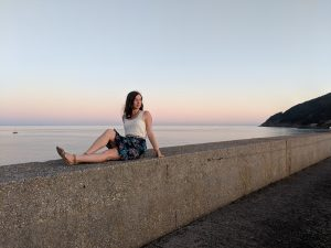 Finisterre, the end of the world, sunset, Spanish fashion, patterned skirt
