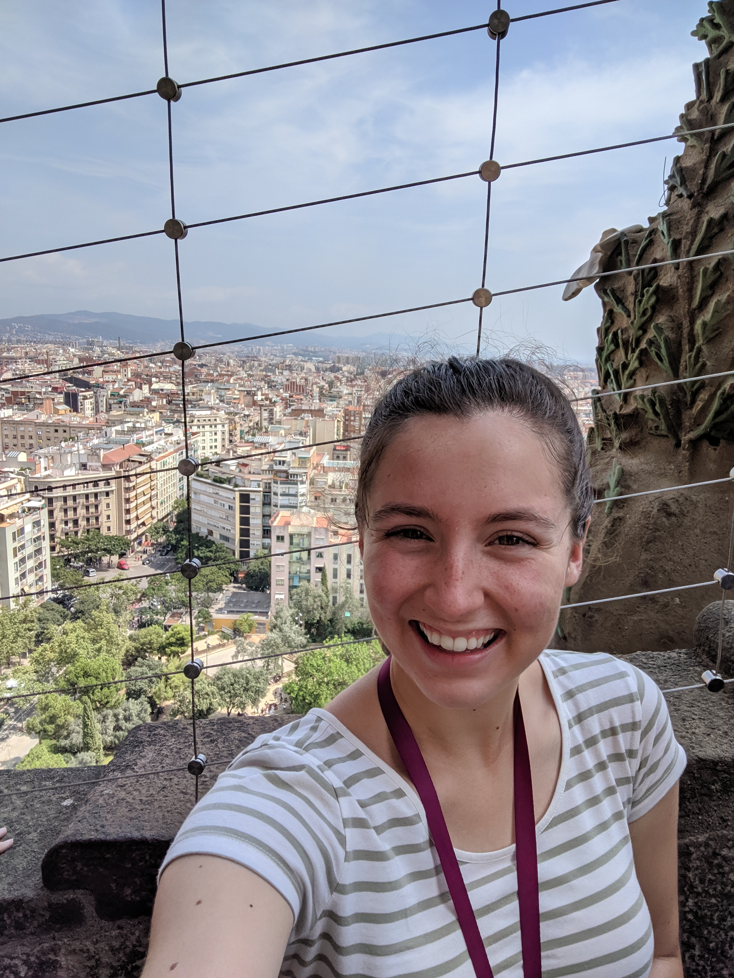 Barcelona, Sagrada familia, striped tee,