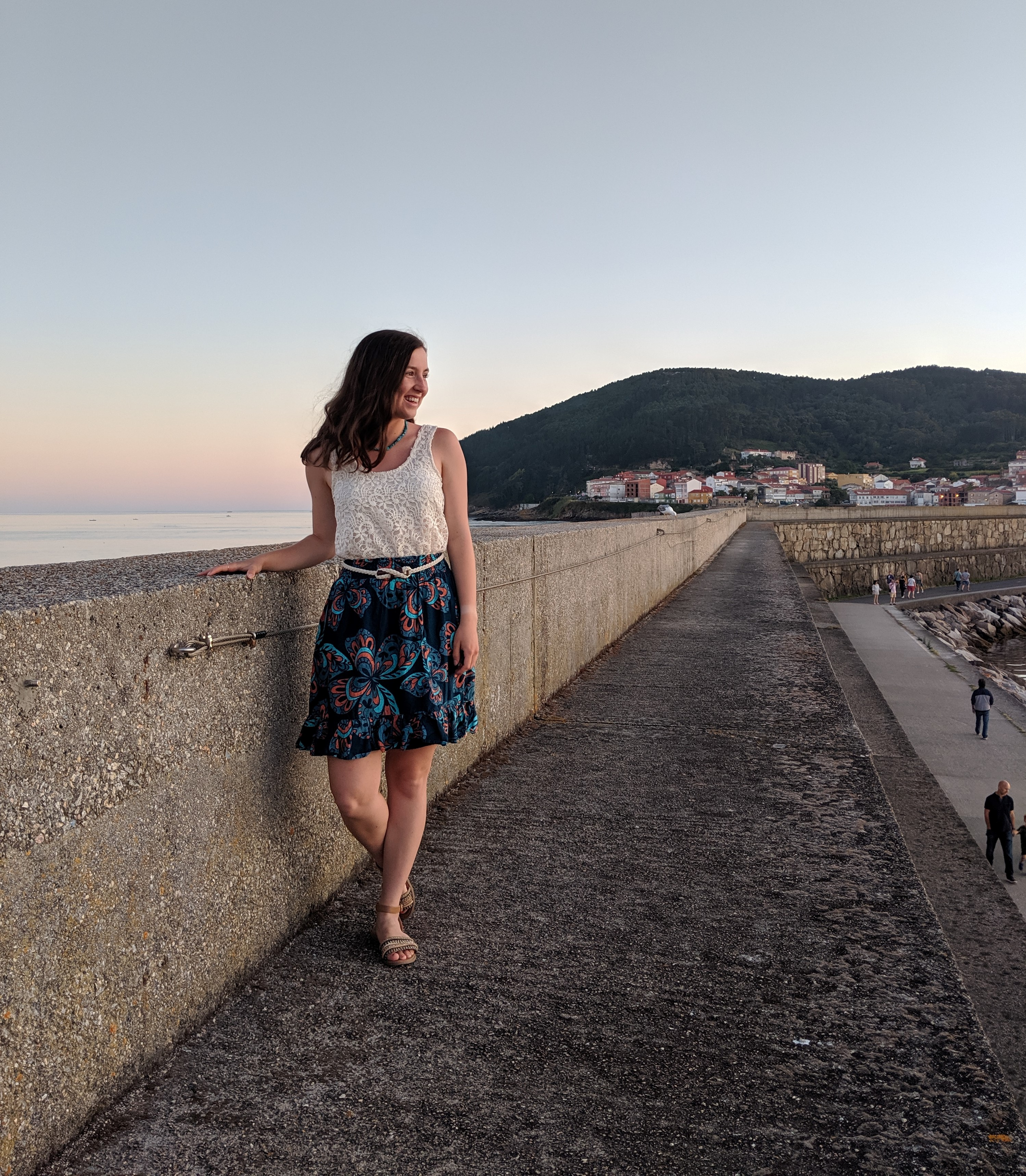 Finisterre, the end of the world, crochet top, patterned skirt, JCPenney, DSW shoes