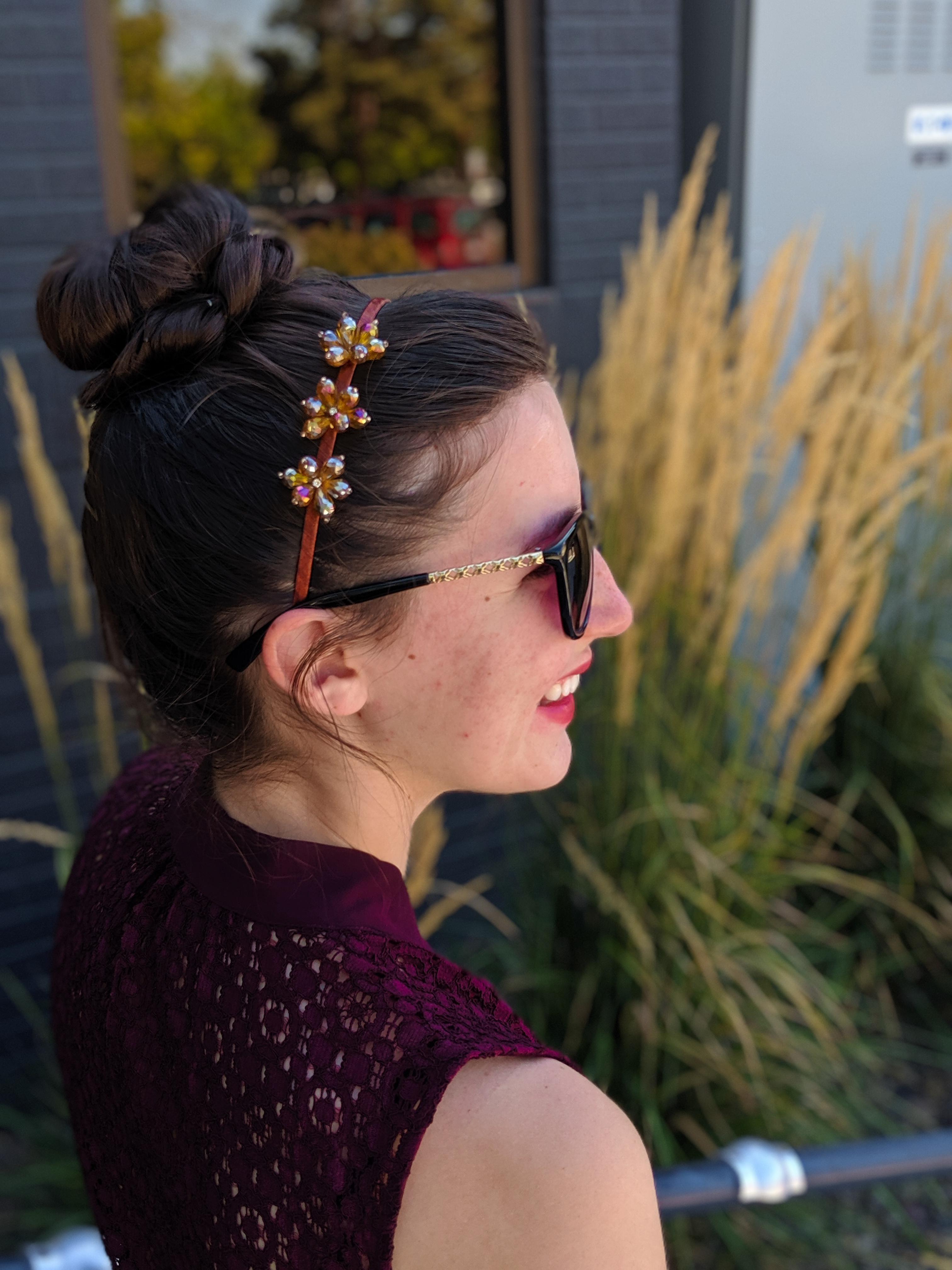 sparkly headband, maroon tie-neck blouse, Charming Charlie sunglasses