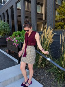 maroon blouse, plaid skirt, velvet shoes