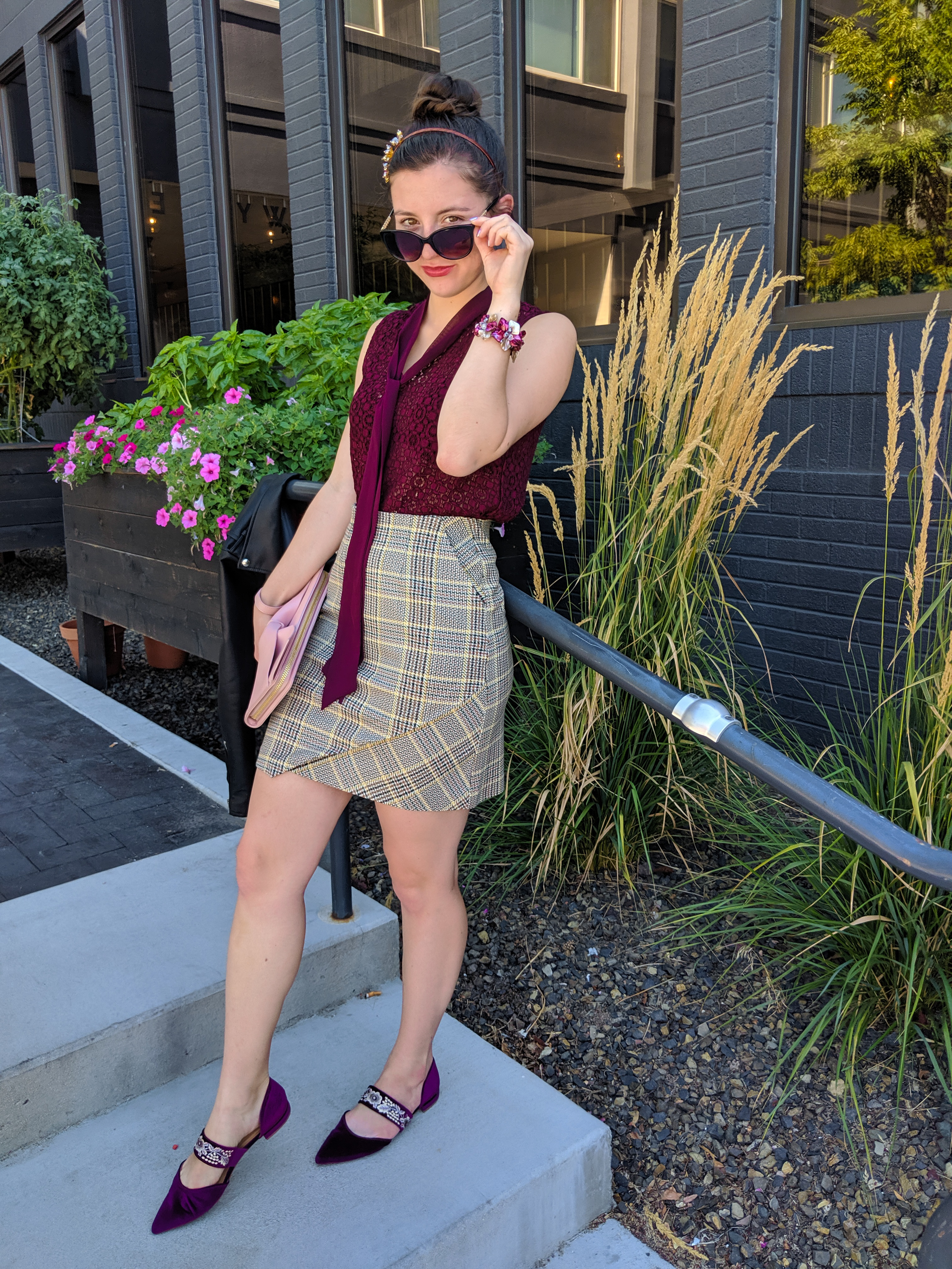 headband, plaid skirt, maroon blouse, work outfit, corporate style
