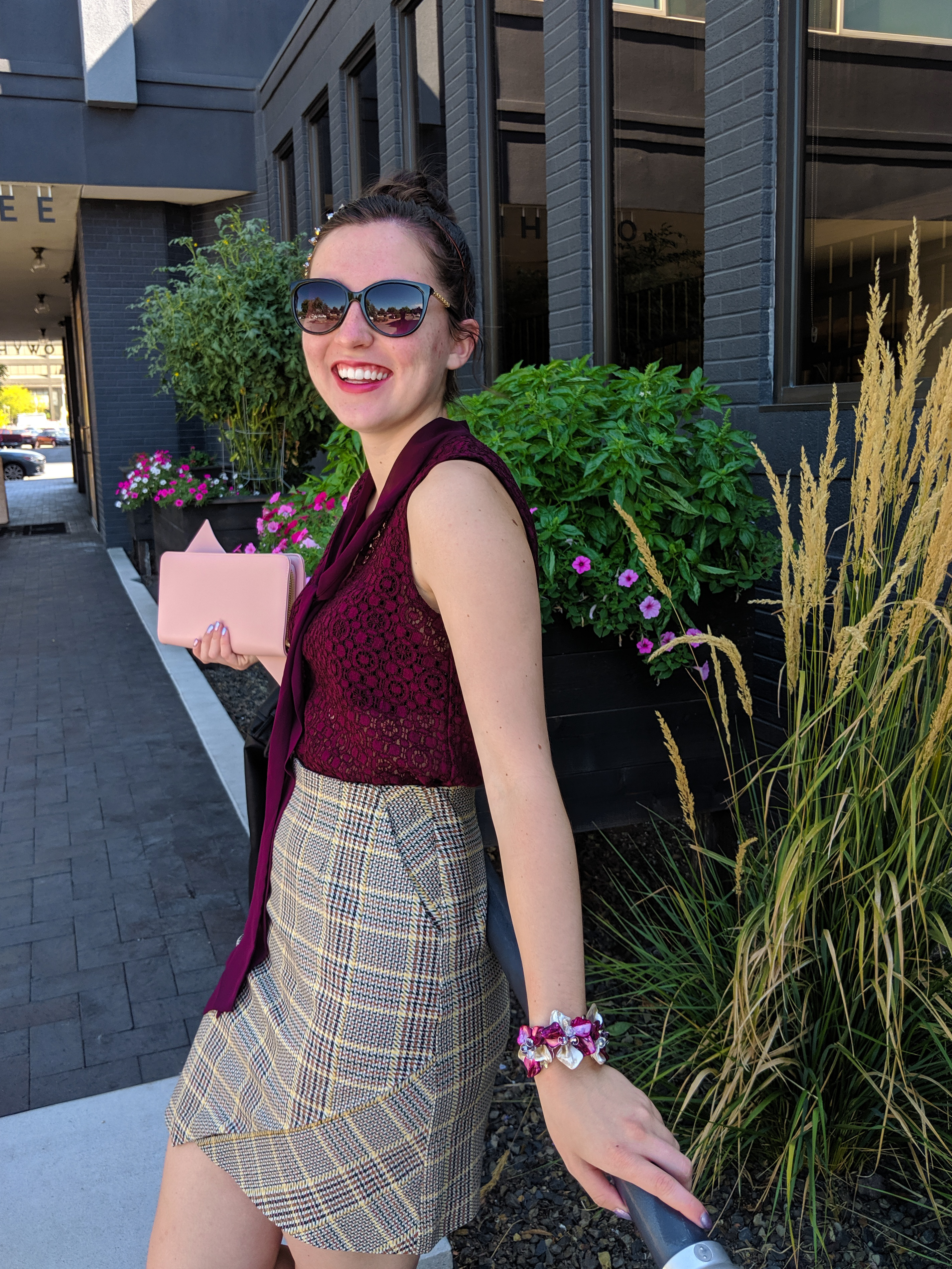 fashion blogger, NYFW, plaid skirt, pattern mixing