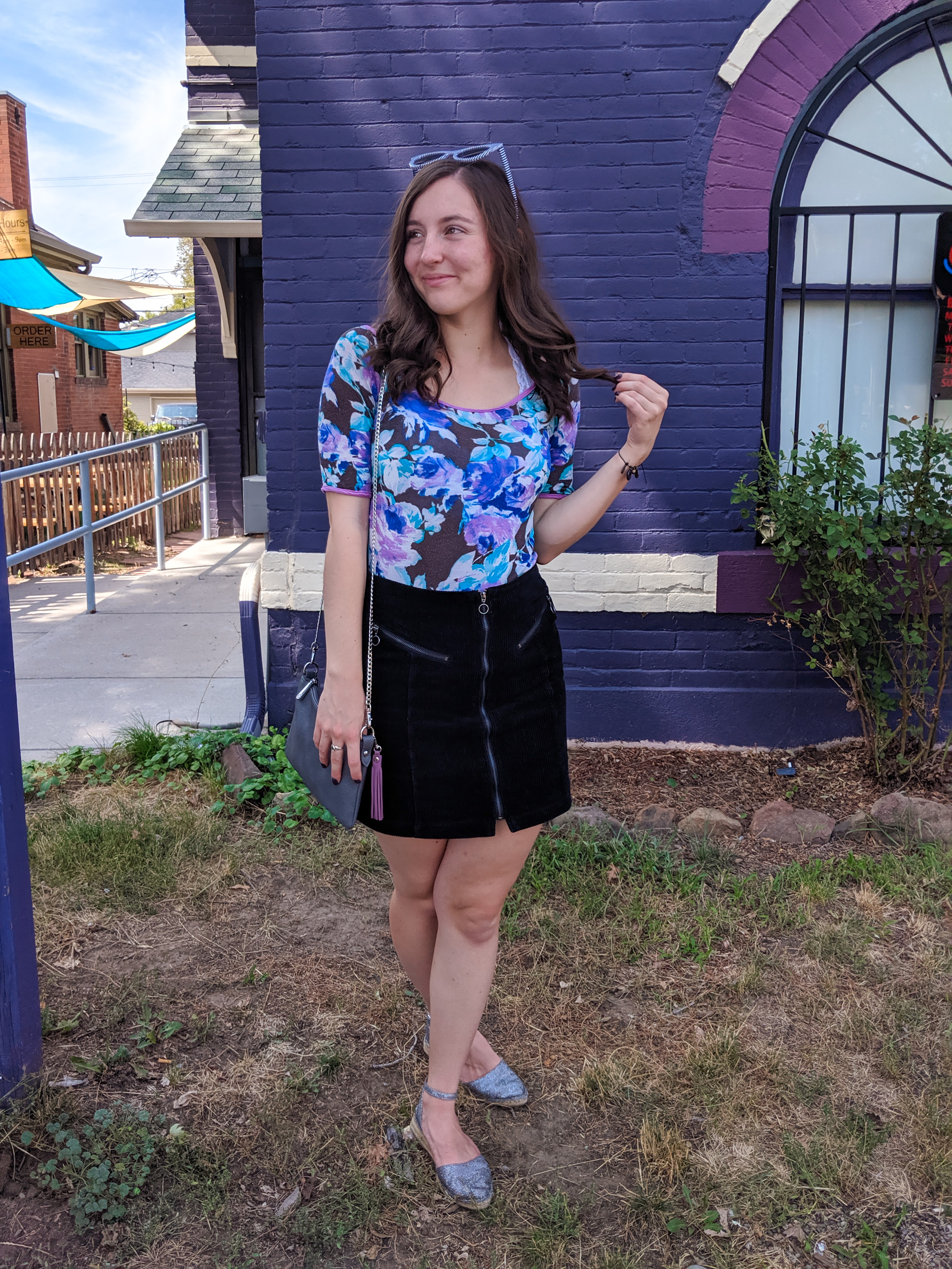 purple outfit, sparkly espadrilles, fall outfit
