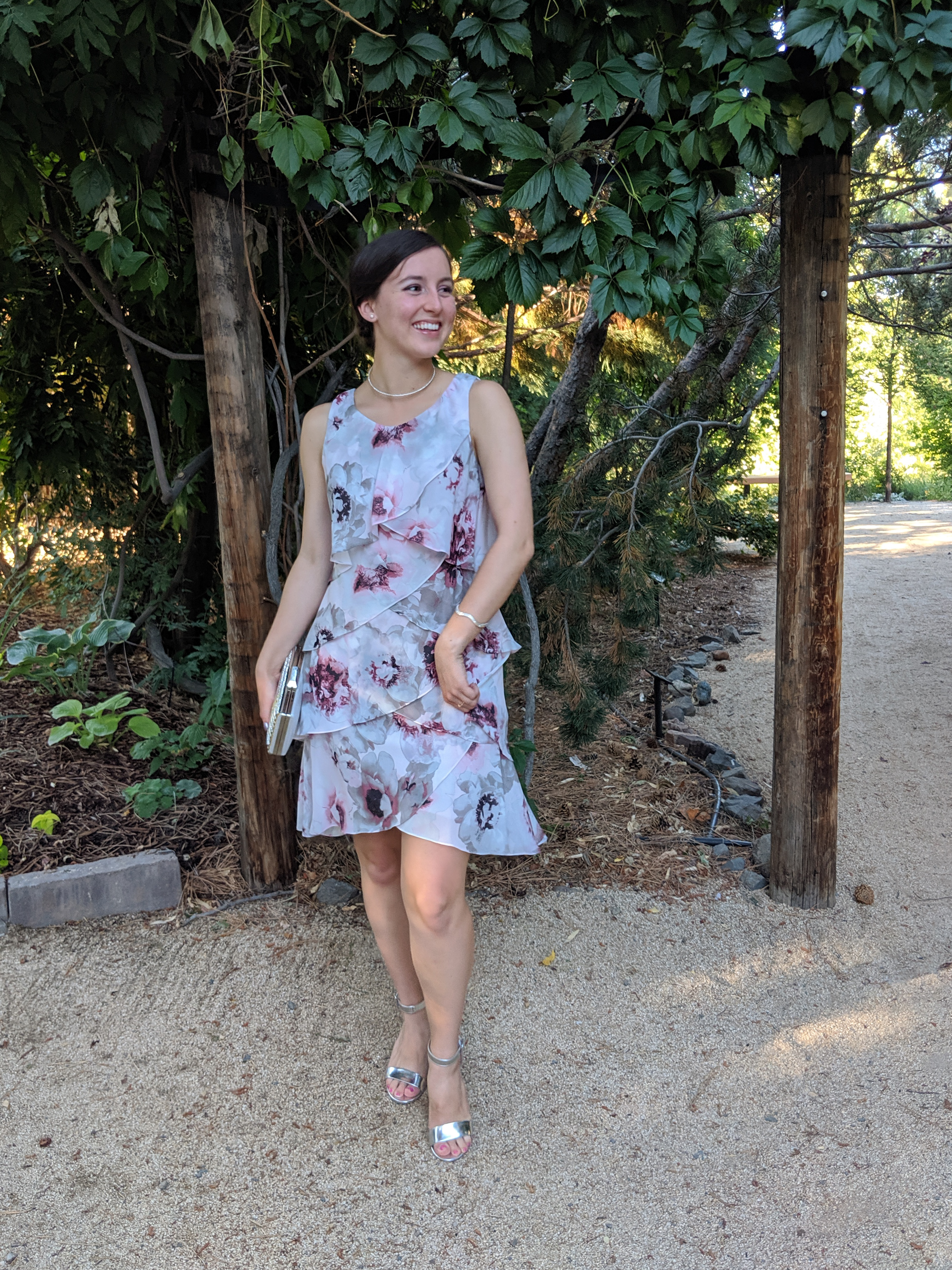 floral ruffle dress, wedding guest