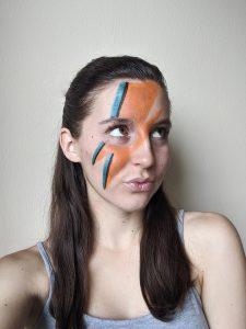 face paint, lightning bolt, Ziggy Stardust