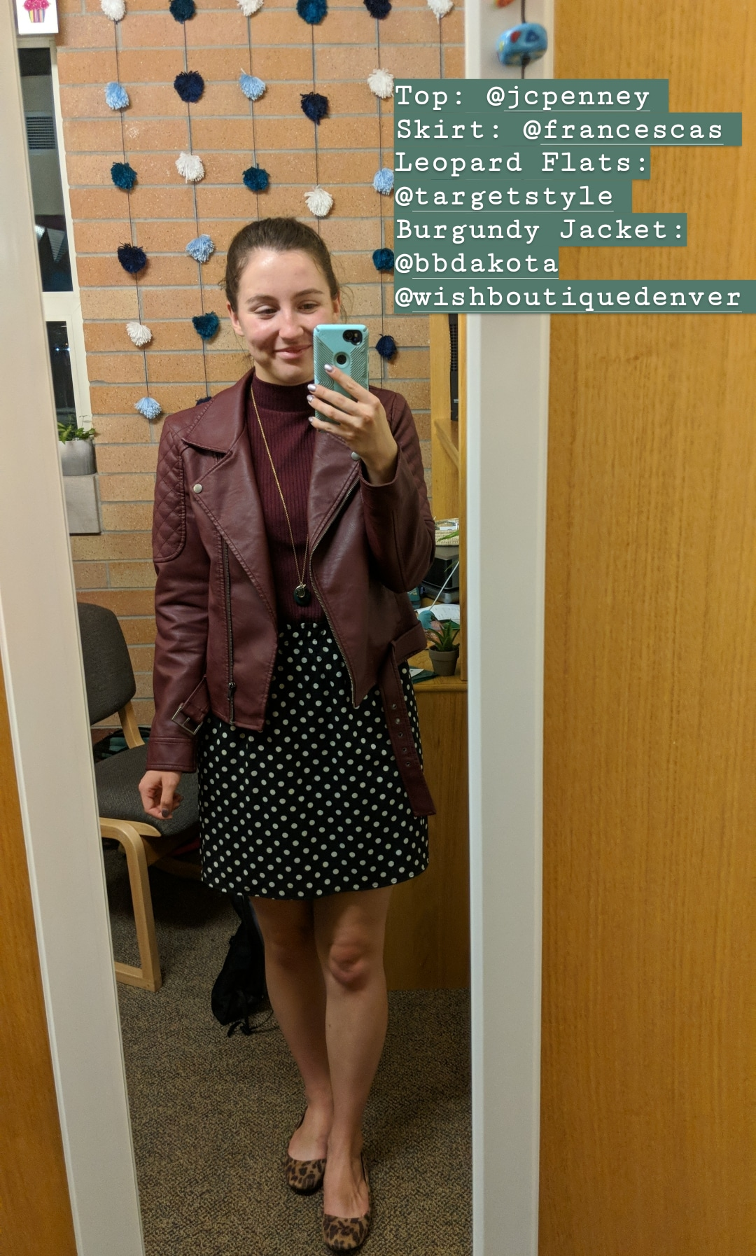 burgundy jacket, polka dot skirt, pattern mixing, leopard flats
