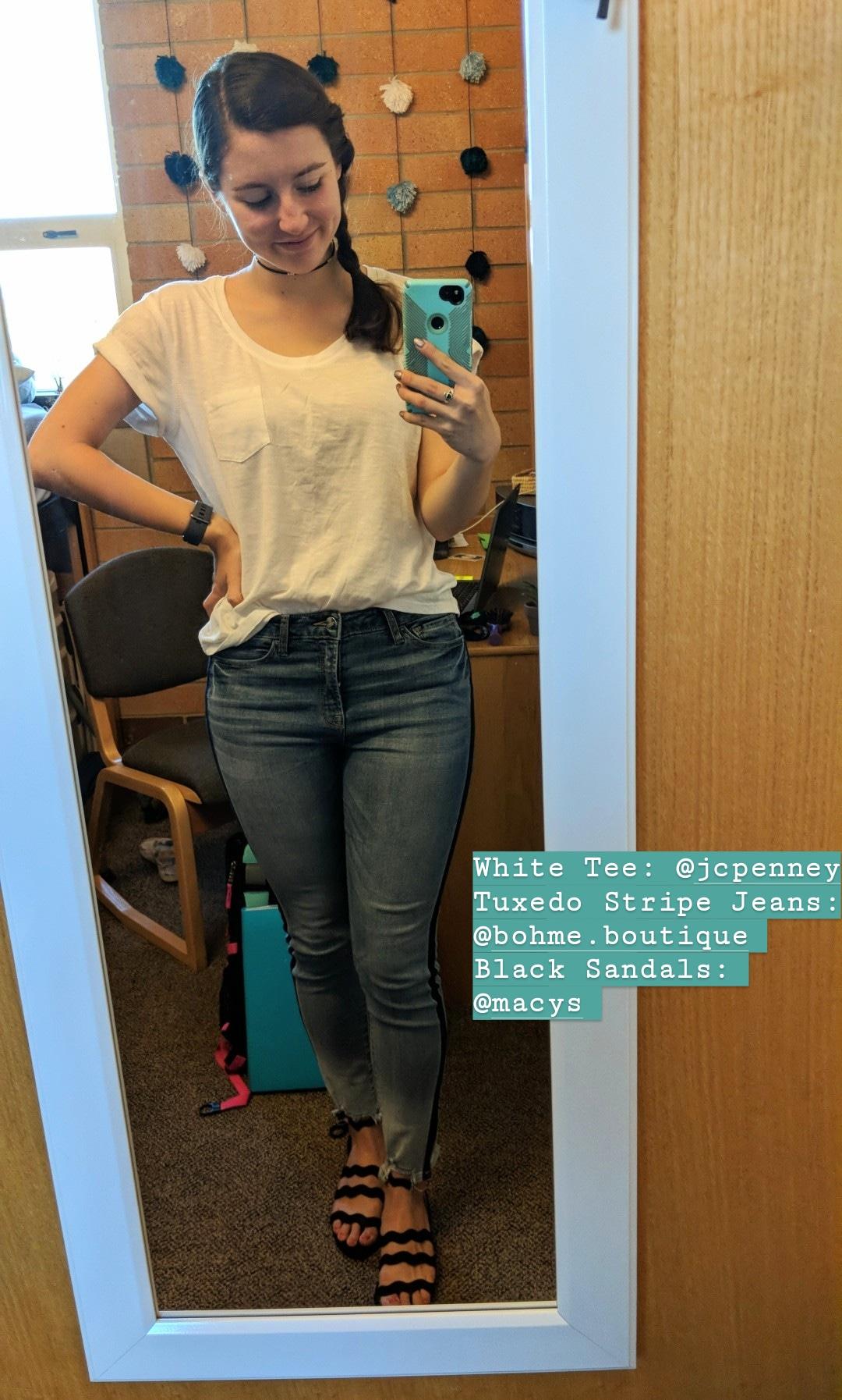 white tee, tuxedo stripe jeans, casual style