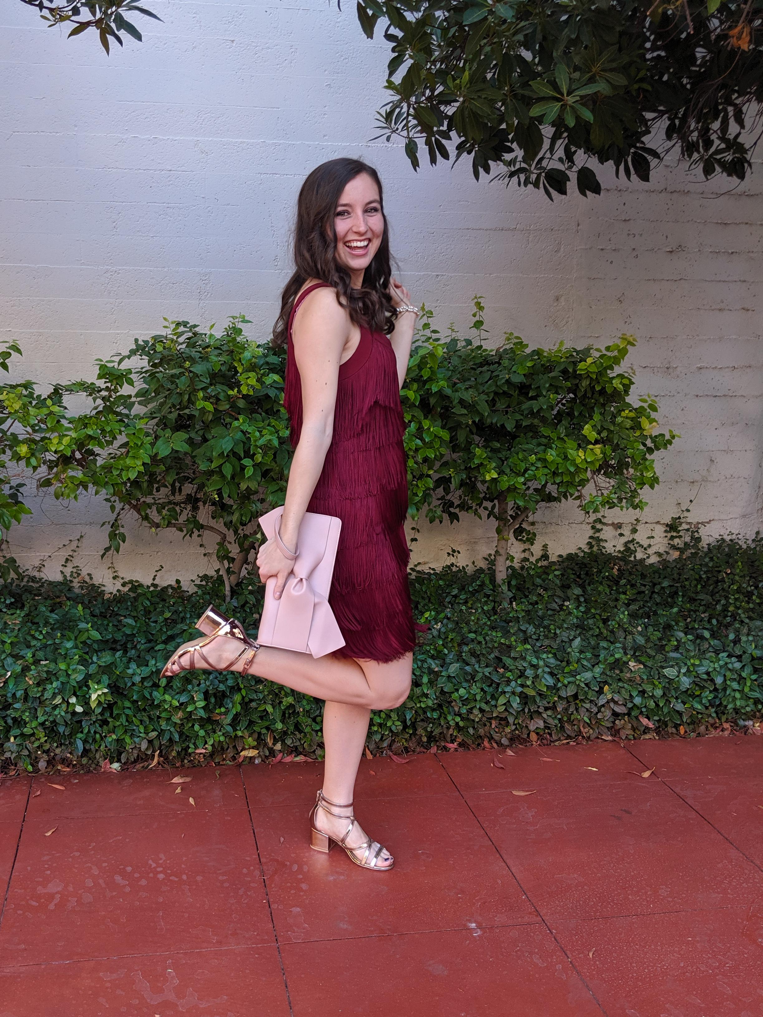rose gold accessories, blush clutch, crimson dress