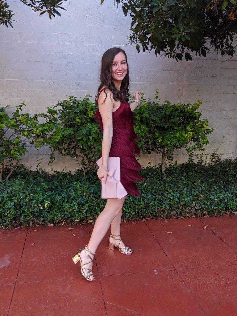 formal attire, wedding guest outfit, blush bow purse