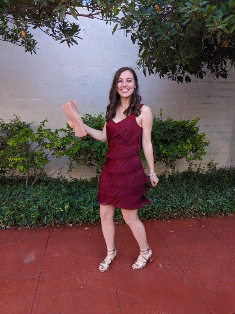 fringe dress, rose gold shoes