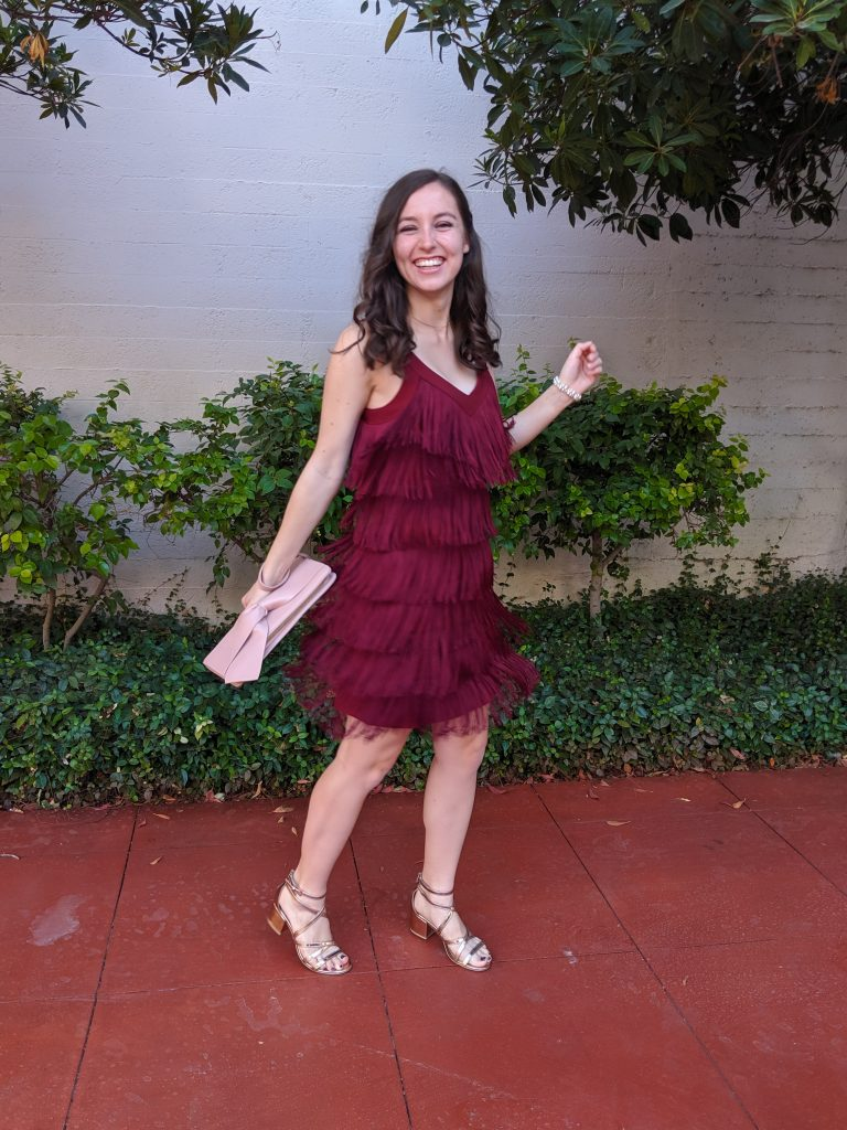 dancing outfit, fringe dress, wedding guest