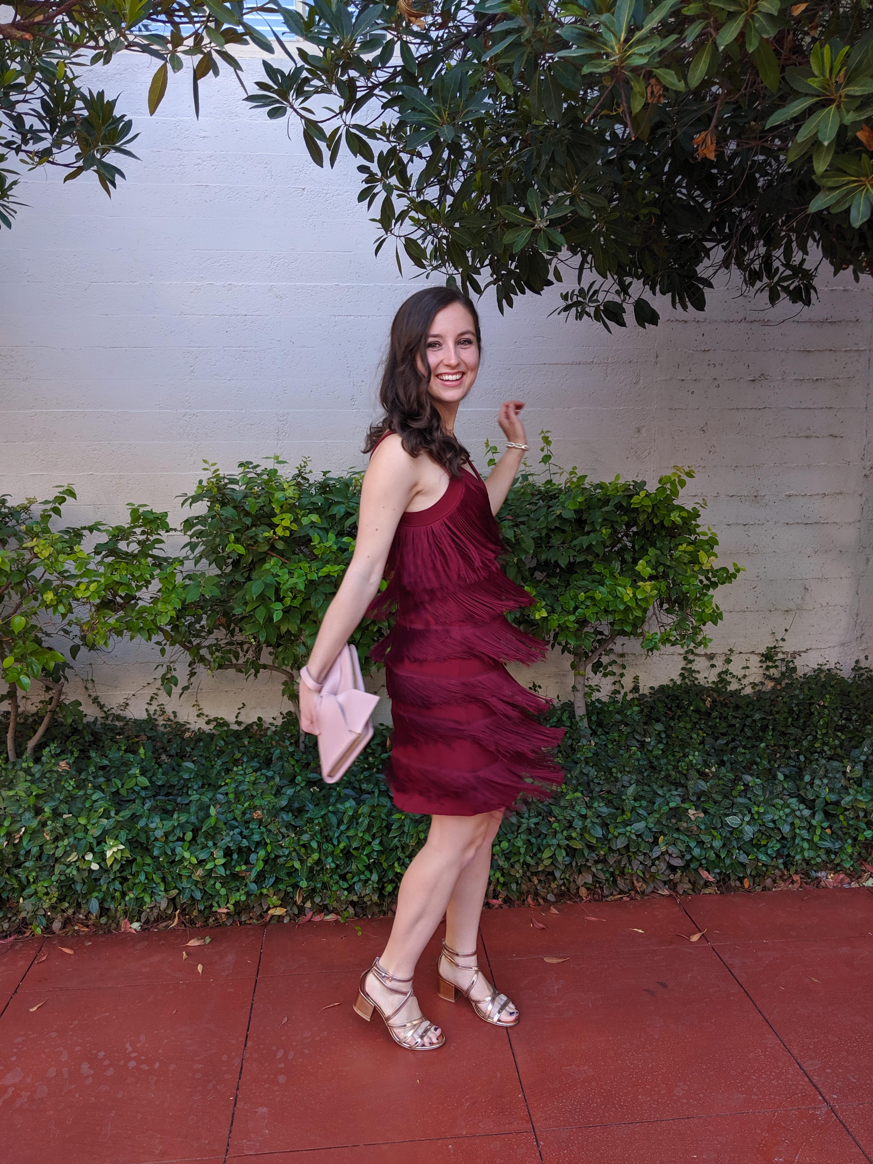fringe flapper dress, White House Black Market, wedding attire
