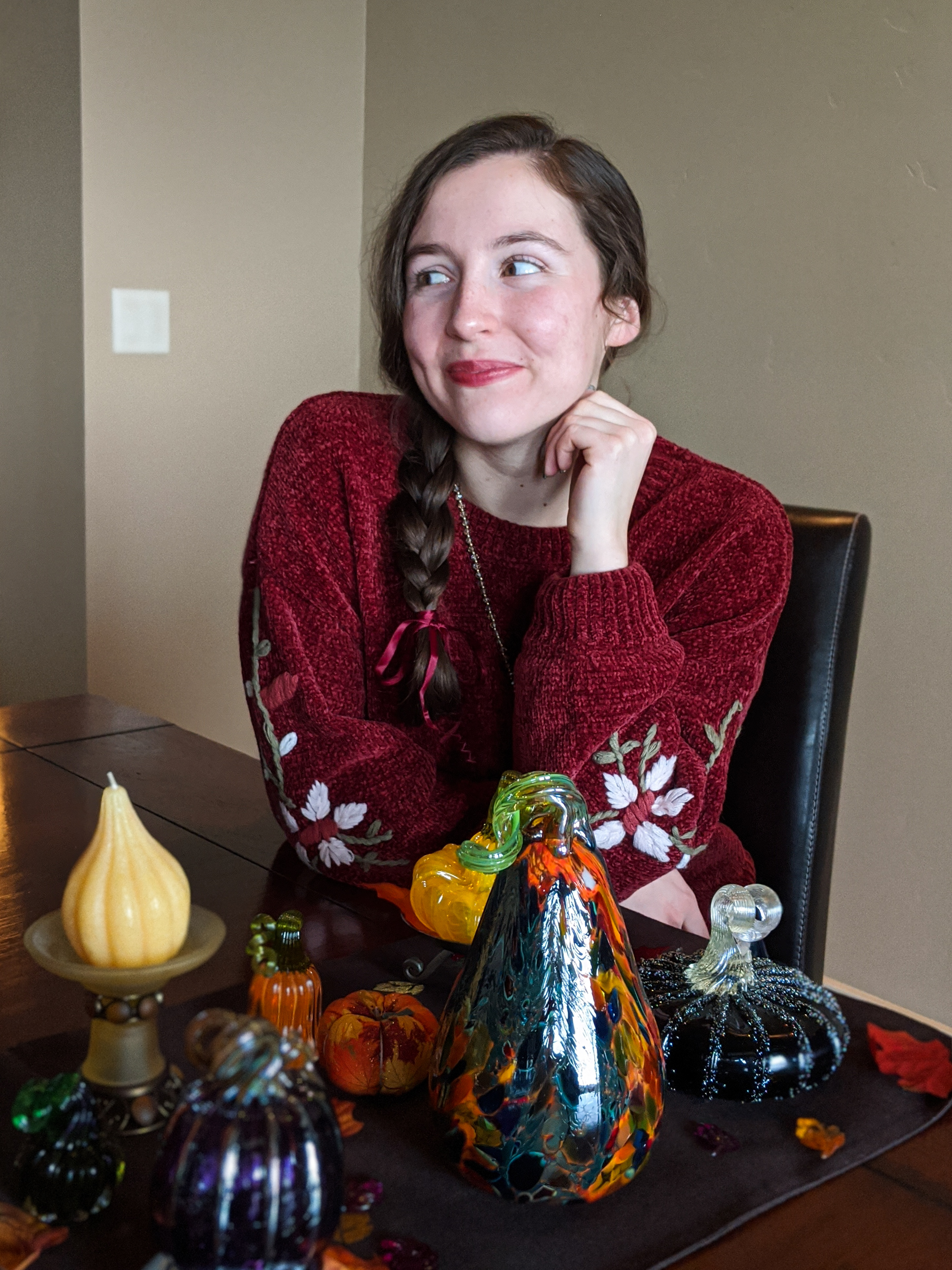 glass pumpkins, burgundy sweater, embroidered sweater