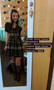 brown patterned dress, JCPenney, Cabi Clothing, knee socks, fall outfit