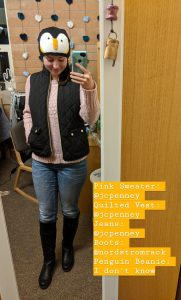 penguin beanie, quilted vest, sweater weather, fall outfit
