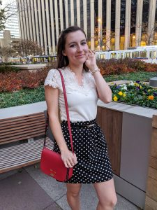 lace blouse, birthday outfit, red purse