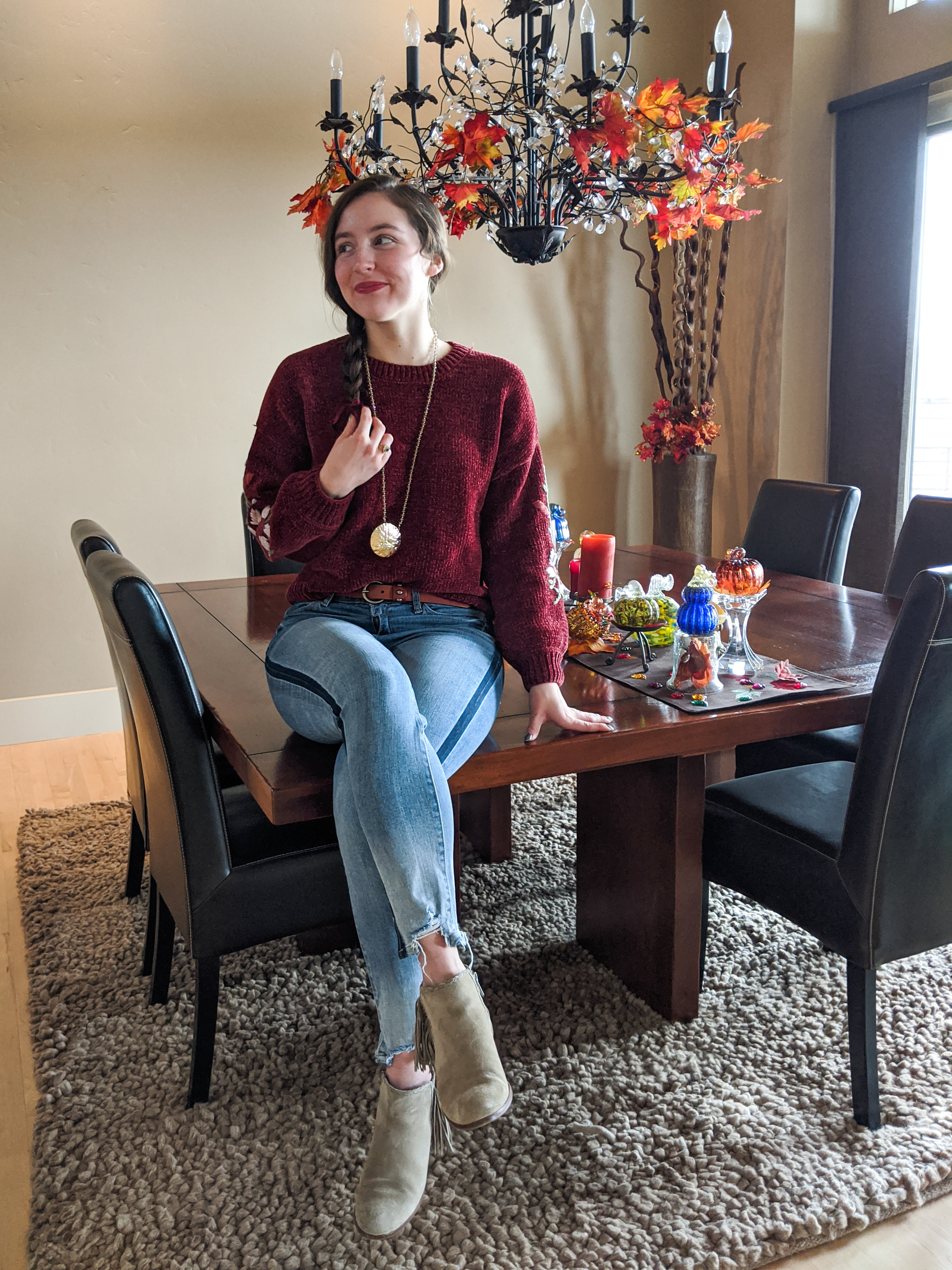 fall outfit, burgundy sweater, Francesca's