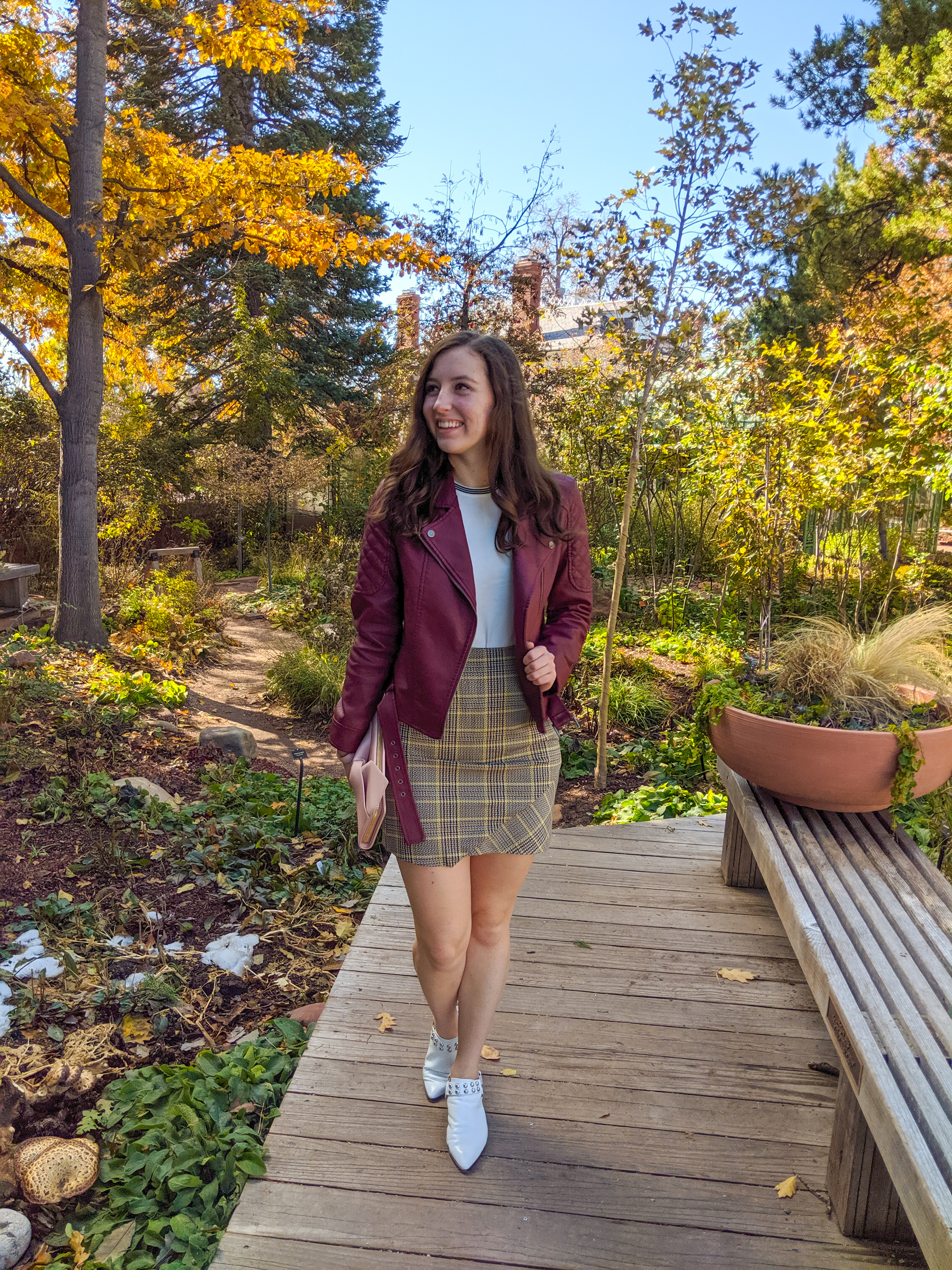 fall outfit, burgundy jacket, plaid skirt, white mules
