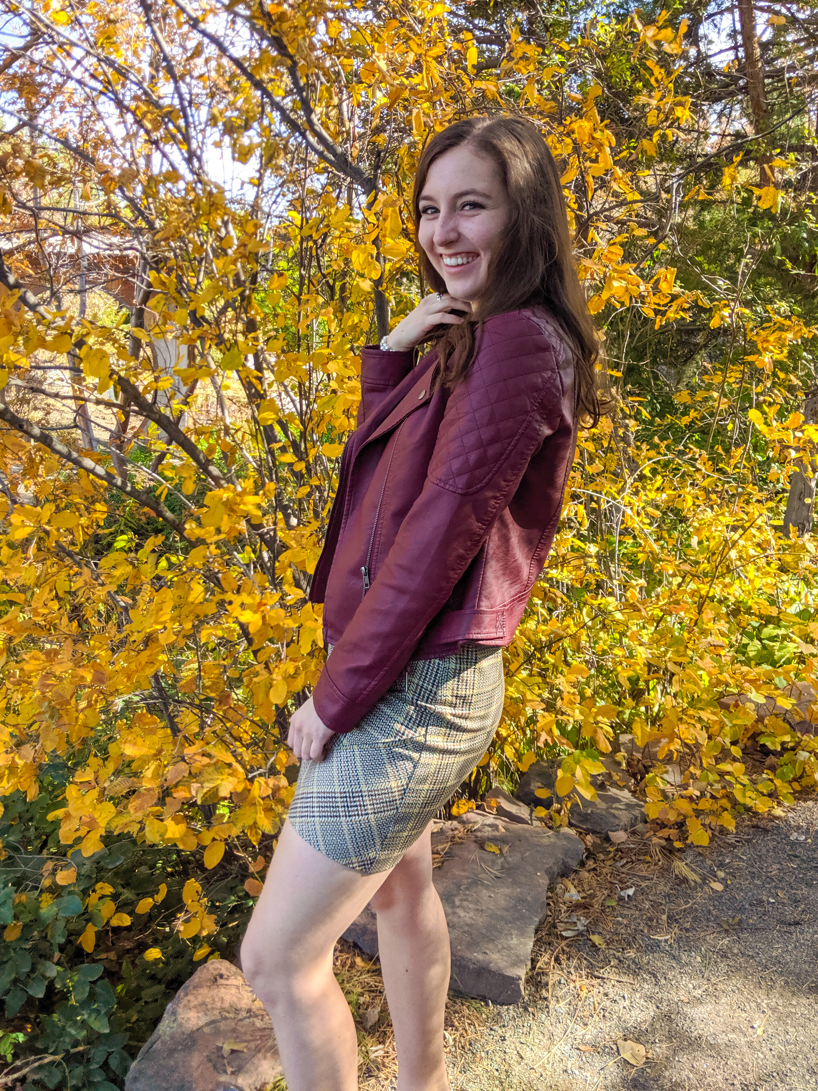 stylish fall outfit, plaid skirt, Cabi clothing