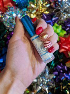 white striped nails, candy cane nails, LA Colors