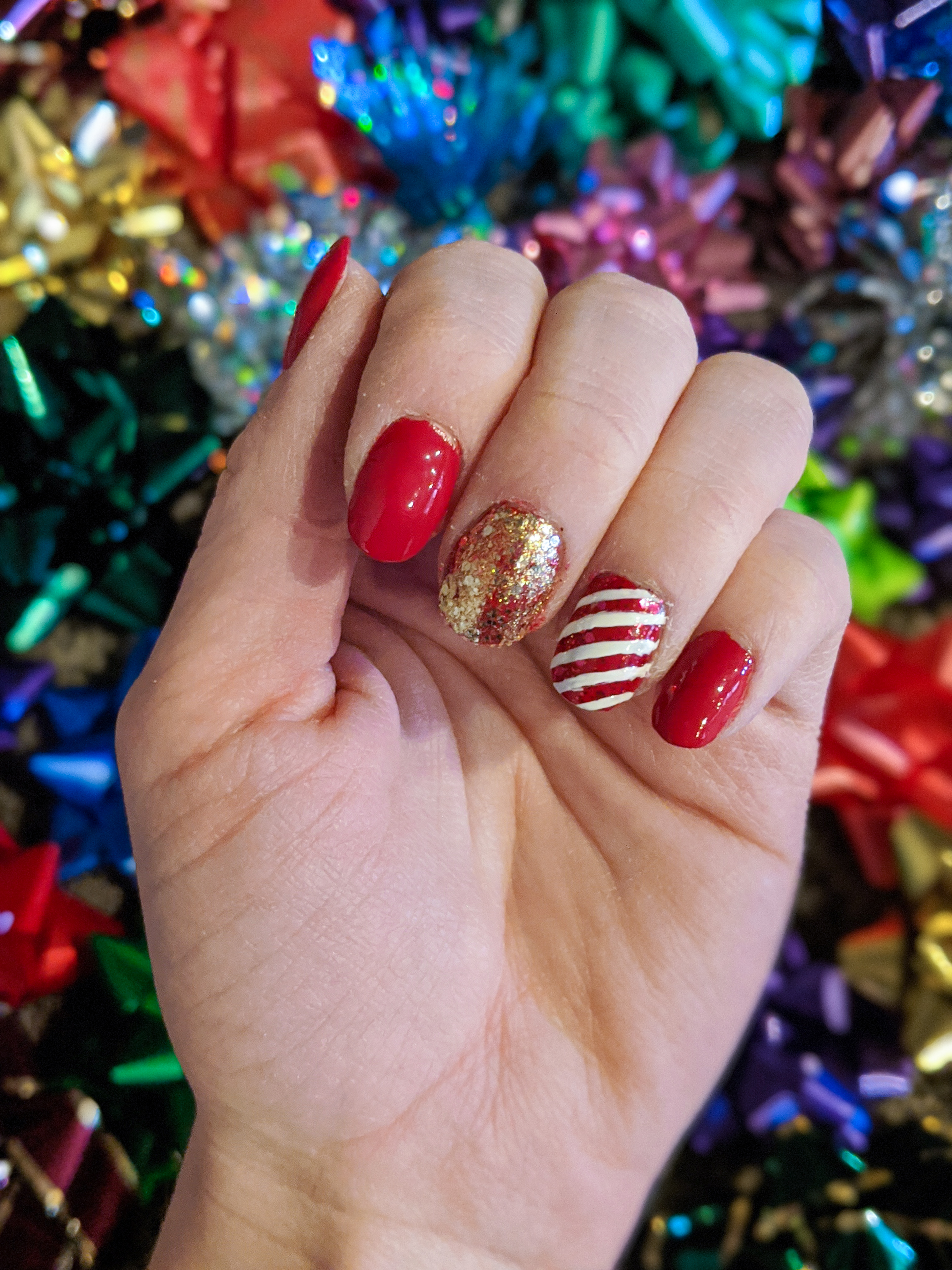 candy cane nails, winter nails, glam Christmas nails