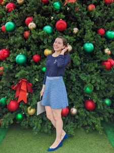 Christmas outfit, winter wonderland, blue suede shoes, holiday flats